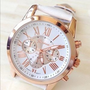 Accessories - Faux Leather and Rose Gold Watch
